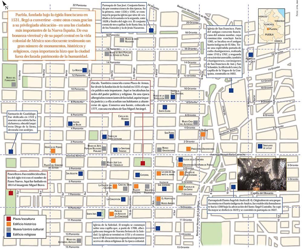 Mapa de las calles y los monumentos de Puebla