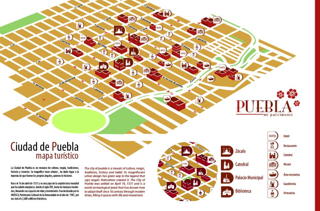 Mapa turístico del centro de Puebla